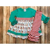 Natalie Grant Santa Print Sash Dress/Legging Set