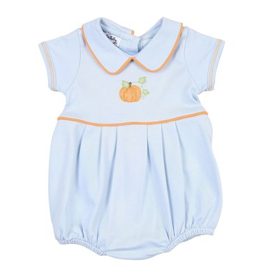 Magnolia Baby Vintage Pumpkin Embroidered Blue Bubble