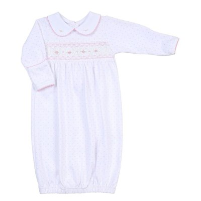 Magnolia Baby Alana and Andy's Classic Smocked Pink Gown