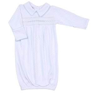Magnolia Baby Alana and Andy's Classic Smocked Blue Gown