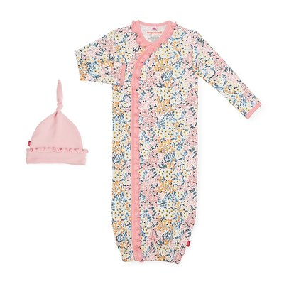 Magnificent Baby Chelsea Organic Cotton Magnetic Gown & Hat