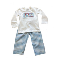 Delaney Blue Check Pant/White Smocked Santa Face Shirt Set
