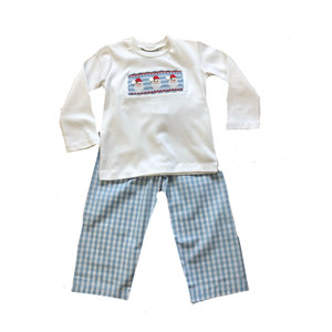 Delaney Blue Check Pant/White Smocked Santa Face Shirt Set