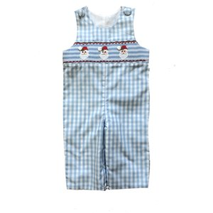 Delaney Blue Check Smocked Santa Face Longall