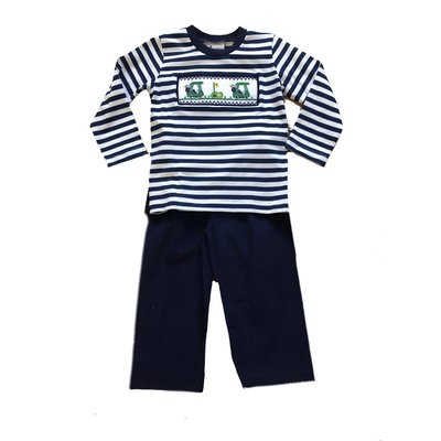 Delaney Blue White Stripe Knit Smocked Golf Shirt Navy Cord Pant Set