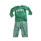 Delaney Green Knit Shirt Smocked Tractors Green Check Pantset