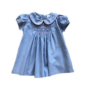 Delaney Lt. Blue Cord Smocked Pink Roses A-line Pleat Front Dress