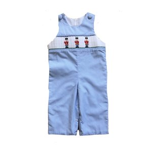 Delaney Nutcracker Smocked Lt. Blue Check Longall