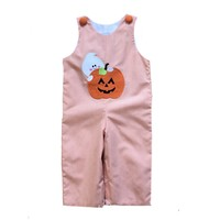 Delaney Orange Check Applique Pumpkin Ghost Longall