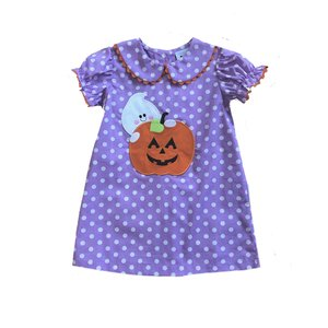 Delaney Purple Dot Pumpkin Ghost Applique Dress