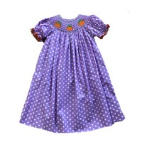Delaney Purple Dot Smocked Pumpkin Bishop Dress