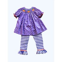 Delaney Purple Dot Smocked Pumpkin Bishop Top & Stripe Legging Set