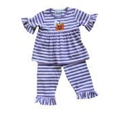 Delaney Purple  Applique Pumpkin Ghost Stripe Pant Set