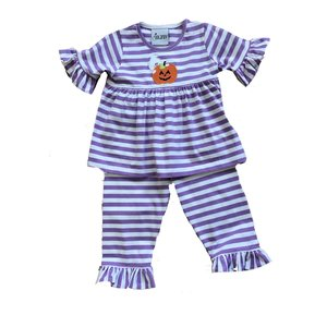 Delaney Purple  Applique Pumpkin Ghost Stripe Pant Set