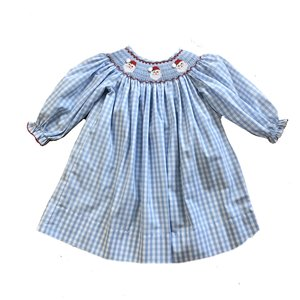 Delaney Smocked Santa Face Long Sleeve Bishop Dress