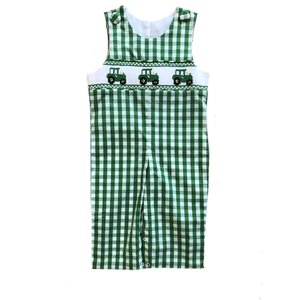 Delaney Tractors Smocked Green Check Longall