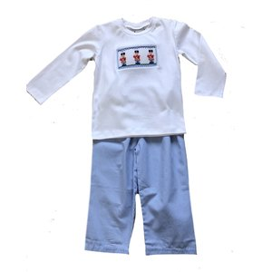 Delaney White Smocked Soldier Shirt/Lt. Blue Check Pantset