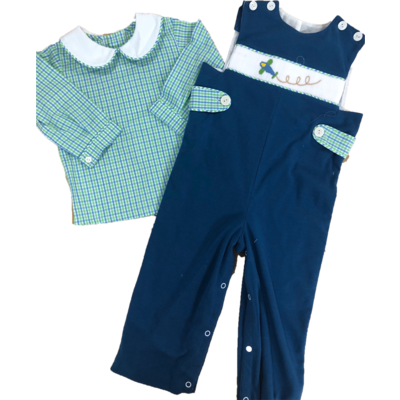 Lullaby Set Time Flies Green & Blue Plaid Plane Smocked Longall w/Shirt