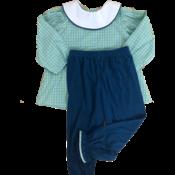 Lullaby Set Time Flies Green & Blue Plaid Girl Pant Set