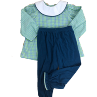 Lullaby Set Time Flies Green & Blue Plaid Girl Pant Set