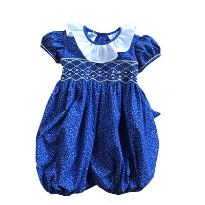 Lulu Bebe LLC Royal Blue Floral Smocked Bubble