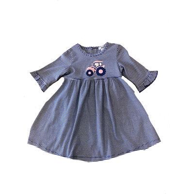Ishtex Textile Products, Inc Royal Blue Stripe Pink Tractor Applique Dress