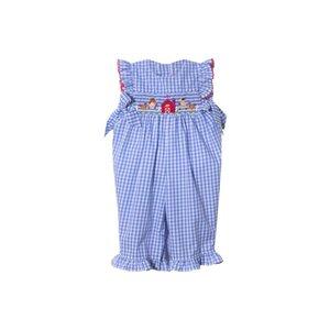 Zuccini Farm Blue Check Smocked Girl Romper