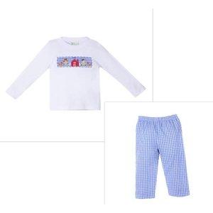 Zuccini Farm Blue Check Smocked Boy Pant Set