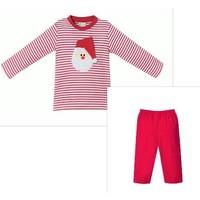 Zuccini Santa Applique Red Stripe Boy Pant Set