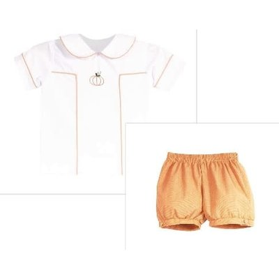Zuccini Pumpkin Shadow Embroidered Boy Bubble Short Set