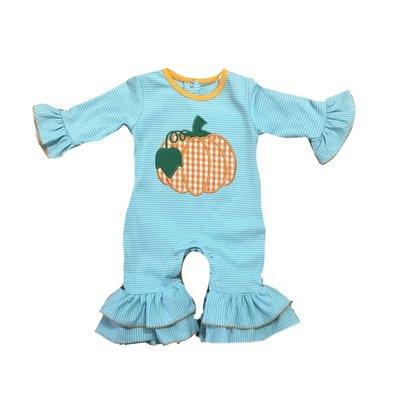 Be Mine Pumpkin Applique Girl's Romper