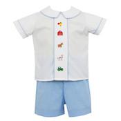 Anavini Farm Boy's Short Set Lt. Blue Micro Check