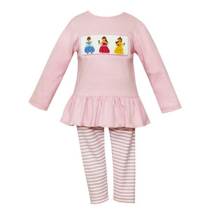 Anavini Princess Lt. Pink Tunic w/ Lt. Pink Stripe Leggings Set