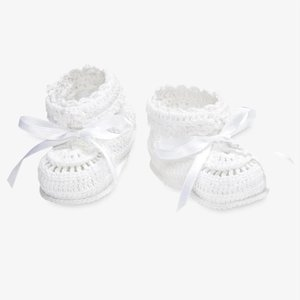 Elegant Baby/Baby Needs White Crochet Booties