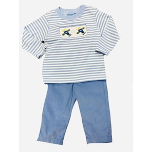 Anavini Airplanes Boy's Smocked Periwinkle Stripe Shirt/Pants Set