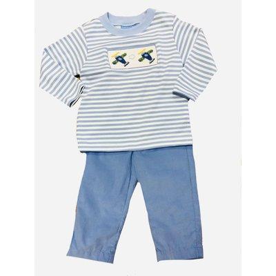 Anavini Airplanes Boy's Smocked Periwinkle Stripe Shirt/Pants Set