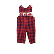 Anavini Firetruck Boy's Long Jon Jon Navy/Red Plaid