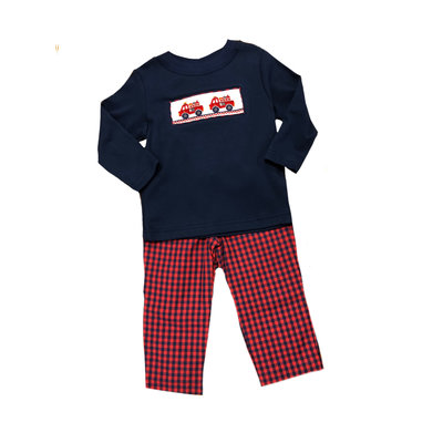 Anavini Firetruck Boy's Smocked Shirt & Pant Set