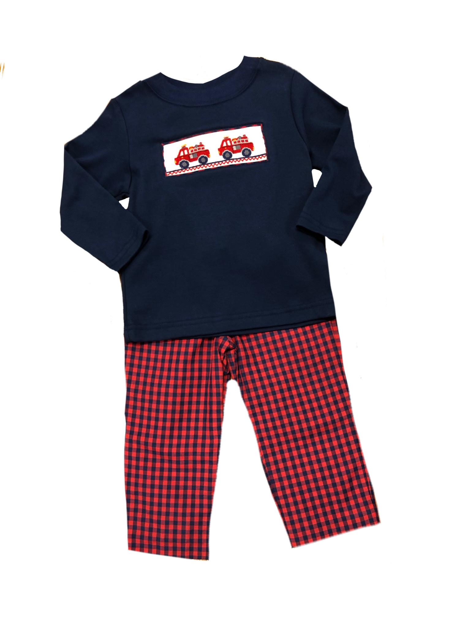 Firetruck Boy's Smocked Shirt & Pant Set - Doodlebugs Children's Finery &  Gifts