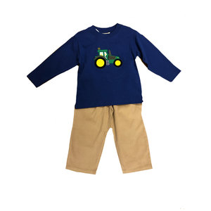 Luigi Tractor Applique Pant Set