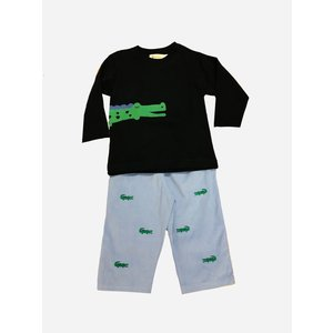 Luigi Alligator Embroidered Pant Set