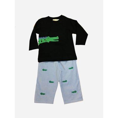 Luigi Alligator Embroidered Pant Set