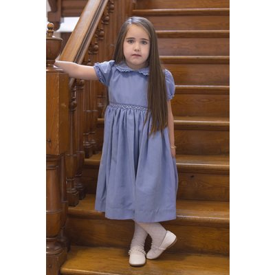 Carriage Boutiques Blue Suede Smocked Short Sleeve Dress