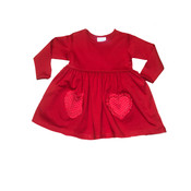 Squiggles Red Knit Dress w/Polka Dot Heart Pockets