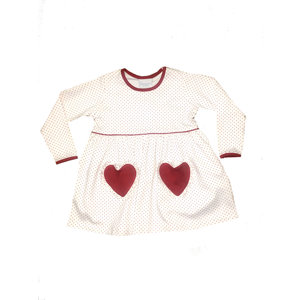 Squiggles White Polka Dot Knit Dress w/Red Heart Pockets