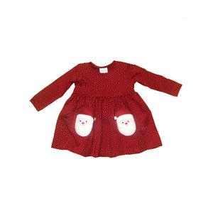 Squiggles Red Dots Knit Dress w/Sherpa Santa Pockets