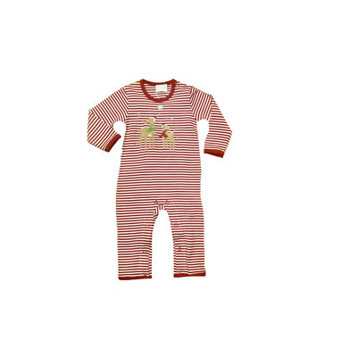 Squiggles Red Stripe Coverall w/Gazing Reindeer