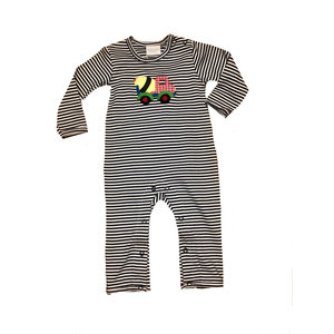 Squiggles Concrete Truck Navy Stripe Coverall