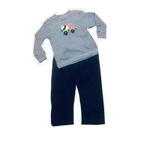 Squiggles Concrete Truck Navy Stripe Pant Set