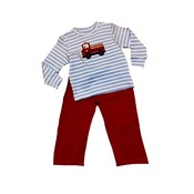 Squiggles Firetruck Blue Stripe Shirt w/Red Knit Pant